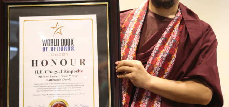 Chogyal Rinpoche Honored by World Book of Records, London